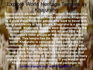 Explore World Heritage Temples in Khajuraho