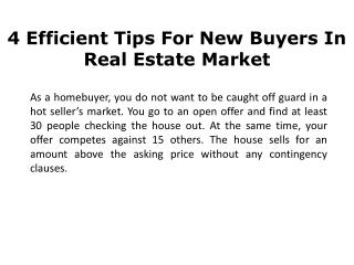 4 Efficient Tips For New Buyers In Real Estate Market