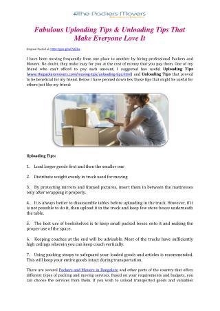 Fabulous Uploading Tips & Unloading Tips That Make Everyone Love It