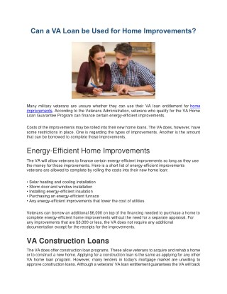 Can a VA Loan be Used for Home Improvements?