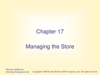 Managing the Store