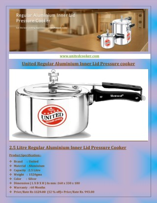 United Regular Aluminium Inner Lid Pressure Cooker