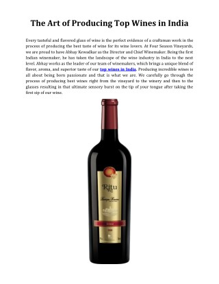 The Art of Producing Top Wines in India