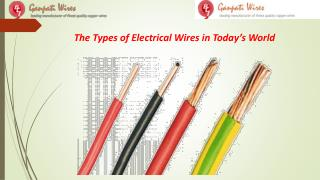 The Types of Electrical Wires in Today's World
