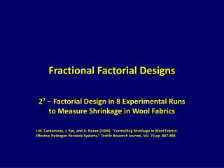 Fractional Factorial Designs