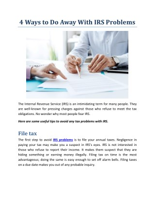 4 Ways to Do Away With IRS Problems