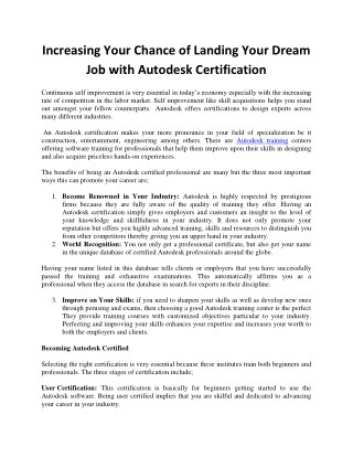 Increasing Your Chance of Landing Your Dream Job with Autodesk Certification