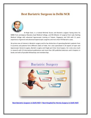 Best Bariatric Surgeon in Delhi NCR