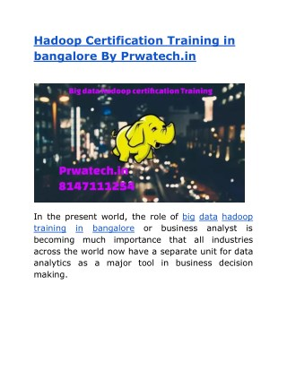 Hadoop training in bangalore by prwatech.in