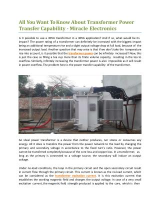 All You Want To Know About Transformer Power Transfer Capability - Miracle Electronics