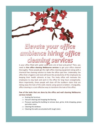 Elevate your office ambience hiring office cleaning services