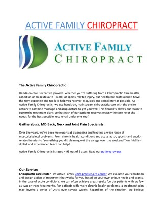 chiropractic treatment rockville