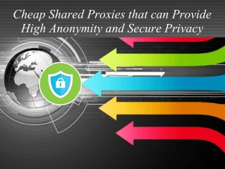 Cheap Shared Proxies that can Provide High Anonymity and Secure Privacy