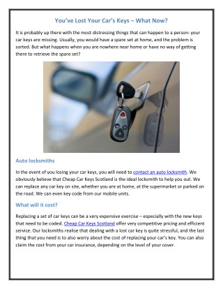 You've Lost Your Car's Keys – What Now?
