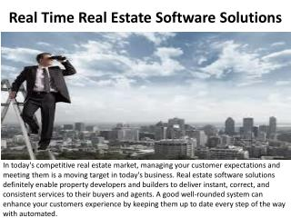 Real Time Real Estate Software Solutions
