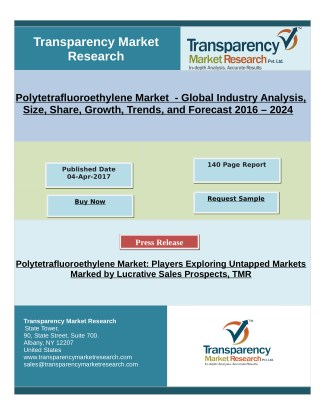 Polytetrafluoroethylene Market - Global Industry Analysis and Forecast 2016 - 2024