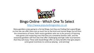 Bingo Online - Which One To Select