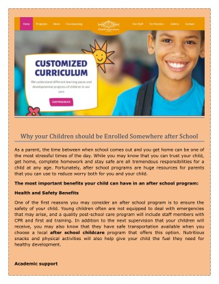 Before and After School Programs & Child Care   after school childcare  - elitekindacare.com