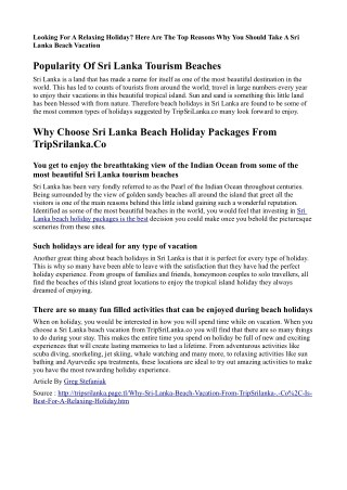 Why Sri Lanka Beach Vacation From TripSrilanka.Co, Is Best For A Relaxing Holiday