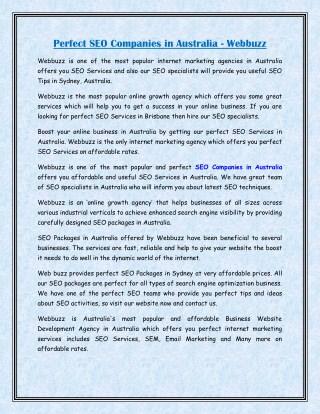 Perfect SEO Companies in Australia - Webbuzz