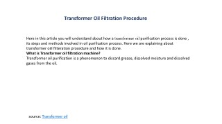 Transformer oil filtration procedure