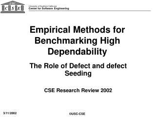 Empirical Methods for Benchmarking High Dependability