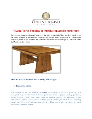 4 Long-Term Benefits of Purchasing Amish Furniture