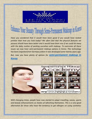 Enhance Your Beauty Through Semi-Permanent Makeup in Korea