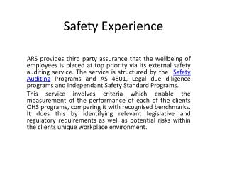 ISO 18001 SAFETY Auditing Experience