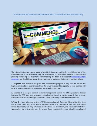 6 Awesome E-Commerce Platforms That Can Make Your Business Fly