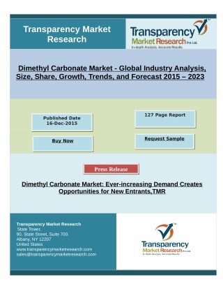 Dimethyl Carbonate Market: Ever-increasing Demand Creates Opportunities for New Entrants,TMR