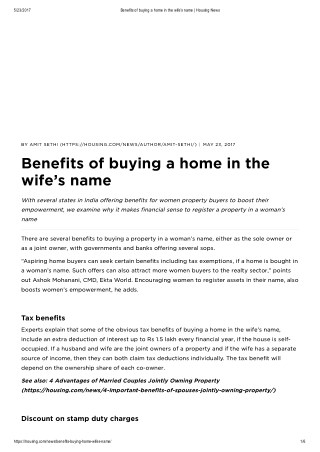 Benefits of Buying a Home in the Wife's Name - Housing News