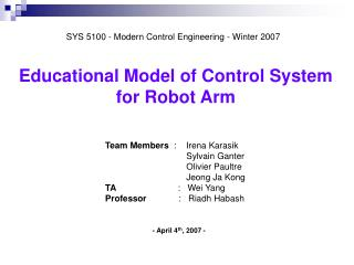 Educational Model of Control System  for Robot Arm