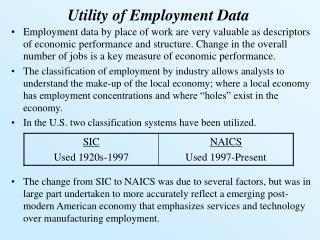 Utility of Employment Data