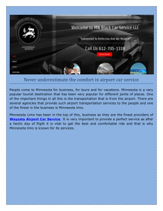 Minneapolis Airport Car Service from Minneapolis to Minnetonka airport
