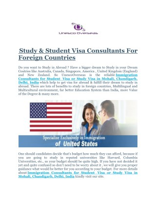 Immigration Consultants for Student & Student Visa For Abroad