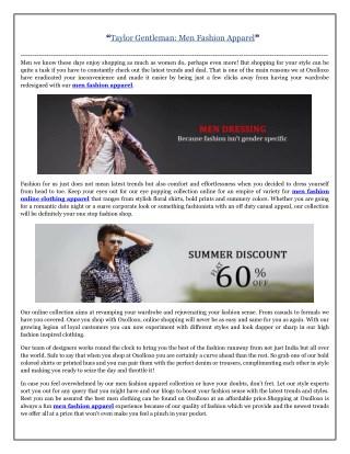 Taylor Gentleman: Men Fashion Apparel