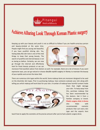 Achieve Alluring Look Through Korean Plastic surgery