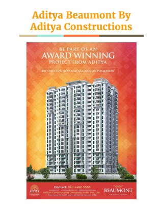 Aditya Beaumont Luxury Apartment  Sale By Aditya Constructions