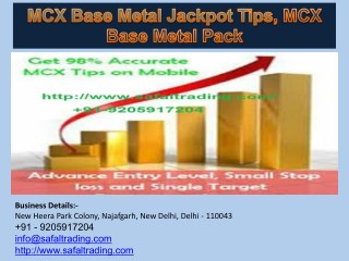 MCX Base Metal Jackpot Tips, MCX Base Metal Pack