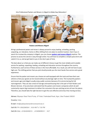Packers and Movers Aligarh