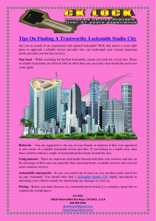 Tips On Finding A Trustworthy Locksmith Studio City