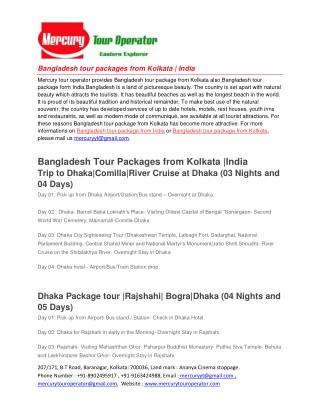 Bangladesh tour package from Kolkata