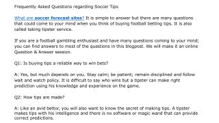Frequently Asked Questions regarding Soccer Tips