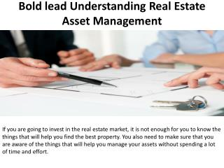 Bold lead Understanding Real Estate Asset Management