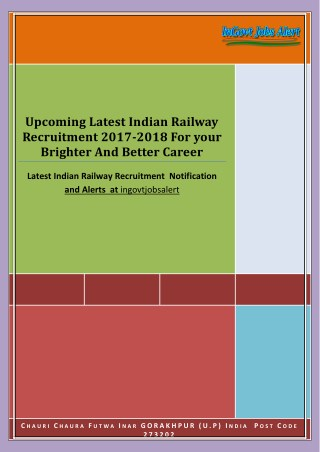 Upcoming Latest Indian Railway Recruitment 2017-2018 For your  Brighter And Better Career