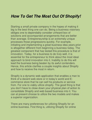 How To Get The Most Out Of Shopify!