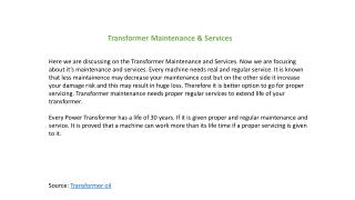 Transformer Maintenance & Services