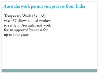 Australia work permit visa process from India