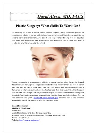 Plastic Surgery: What Skills To Work On?